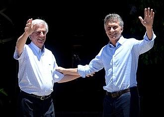 Argentina–Uruguay relations - Presidents Mauricio Macri and Tabaré Vázquez in 2016.