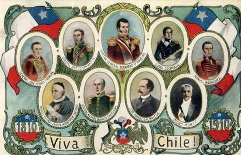 Postcard released by the Chilean Government in 1910. At the top, from left to right: José Miguel Carrera, José de San Martín, Bernardo O'Higgins, Lord Thomas Cochrane, and Manuel Rodríguez. At the bottom, from left to right: Manuel Vicuña, Manuel Blanco Encalada, José Manuel Balmaceda and Pedro Montt.