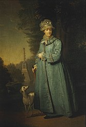 Vladimir Borovikovsky: Portrait of Catherine II, Empress of Russia during a walk in the Tsarskosyelsky Park with the Chesmensky Column in the background