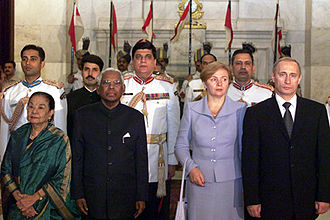 K. R. Narayanan - K. R. Narayanan with President of Russia Vladimir Putin on 3 October 2000.