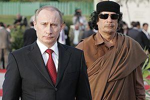 Foreign relations of Libya under Muammar Gaddafi - Gaddafi with then-President of Russia Vladimir Putin in 2008