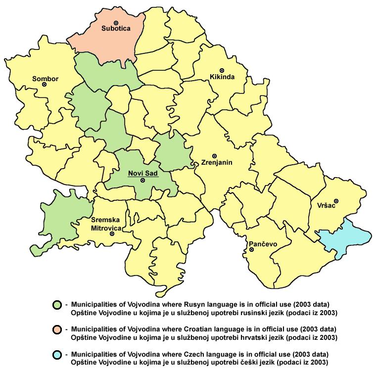 Vojvodina rusyn croatian czech map