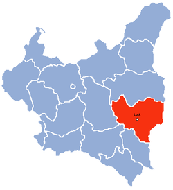 Wołyń Voivodeship on the map of Poland between world wars