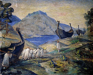 Caspian expeditions of the Rus' - Rus' Varangians and their longships in Gardariki, by Nicholas Roerich.