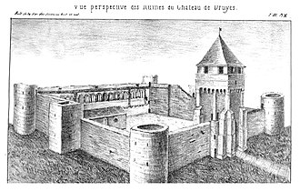 Château de Druyes - Drawing of the château in the 16th century by F. Vachey