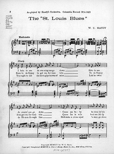 "Sheet music from ""Saint Louis Blues"" (1914) W. C. Handy - The ""St. Louis Blues"" - First page.jpg"