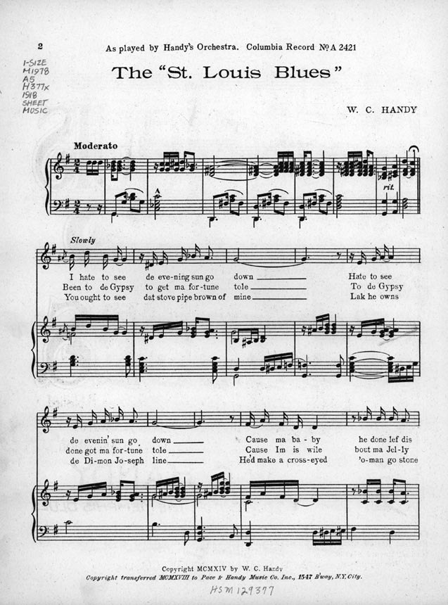W. C. Handy - The %22St. Louis Blues%22 - First page