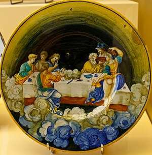 Ambrosia - The Food of the Gods on Olympus (1530), majolica dish attributed to Nicola da Urbino