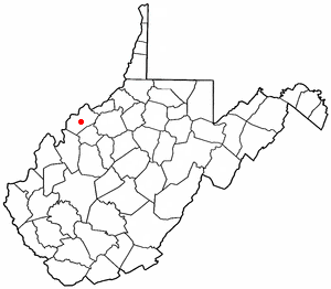 Mineralwells, West Virginia - Image: WV Map doton Mineralwells