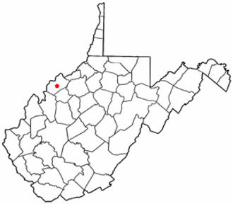 Mineralwells, West Virginia - Image: WV Map doton Mineralwells