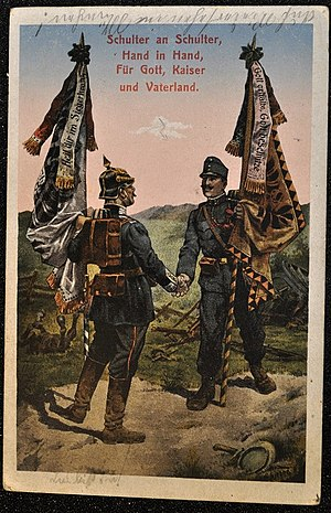 "Fatherland - Postcard of an Austrian and a German soldier in the First World War with the text ""Shoulder to shoulder, hand in hand, for God, Emperor and Fatherland!"""