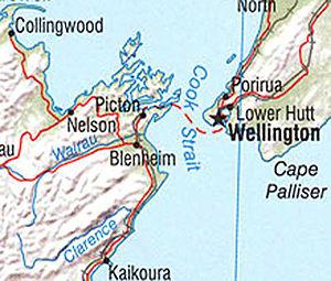 Wairau Bar - Map showing location of Wairau River