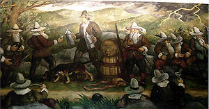 """Waldo Peirce - """"Legends of the Hudson."""" A Section of Fine Arts mural painted by Waldo Peirce in 1938 for the Troy, New York post office"""