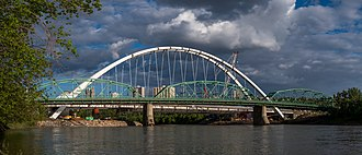 105 Street, Edmonton - Old and new Walterdale bridges. May 25, 2017