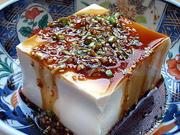 photograph of tofu with sauce