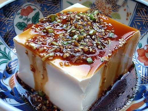 Warm tofu (soybean curd) with garlic sauce Warm Tofu with Spicy Garlic Sauce.jpg
