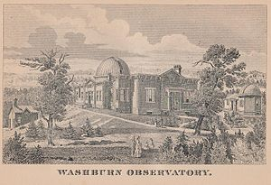 Washburn Observatory - An early illustration of the Washburn Observatory, from the 1885 edition of the Wisconsin Blue Book.