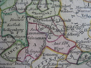 Weissenau Abbey - Weissenau and other Imperial abbeys near Ravensburg. Imperial abbots ruled their abbeys as quasi-sovereign monarchs.