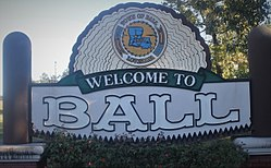 Welcome sign for Ball (established 1972)