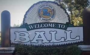 Ball, Louisiana - Welcome sign for Ball (established 1972)