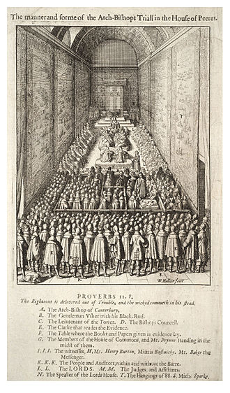 William Laud -  Etching by Wenceslaus Hollar, Laud being tried for treason, with several people present labelled