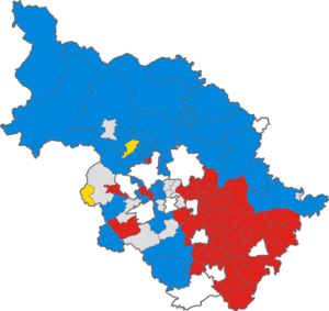 West Riding County Council election, 1955 - Map of the results of the election in each division.