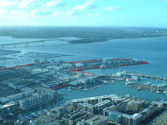 Wynyard Quarter - Looking northwest from the Sky Tower, with approximate boundaries in red.