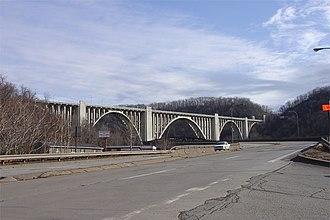 Turtle Creek (Monongahela River tributary) - Photo of the George Westinghouse Bridge over the Turtle Creek Valley.