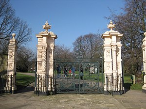 Weston Park, Sheffield - Terracotta pillars and park gates