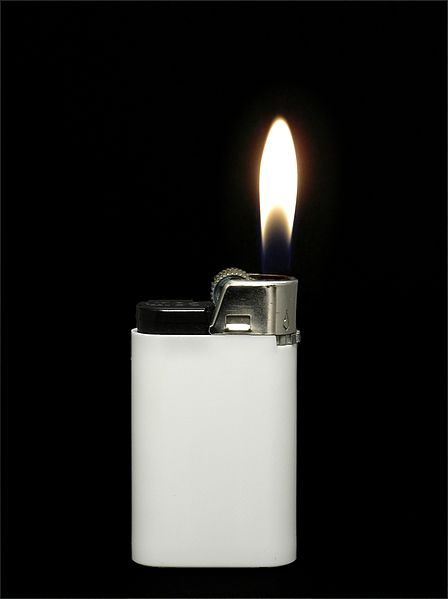 File:White lighter with flame.JPG