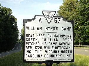 Ridgeway, Virginia - HIstoric marker for William Byrd's Camp on his expedition to survey the Dividing Line, Henry County, Virginia, 1728