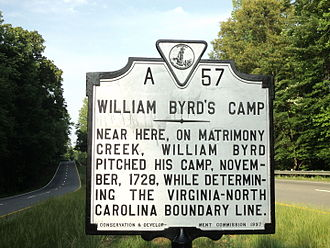 William Byrd II - HIstoric marker for William Byrd's Camp on his expedition to survey the Dividing Line, Henry County, Virginia, 1728