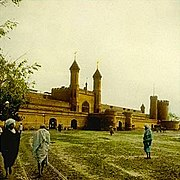 Magic lantern image of Lahore Railway Station, Lahore circa 1895