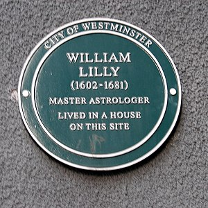 "William Lilly - City of Westminster Green plaque, (given to ""people of renown who have made lasting contributions to society"") marking Lilly's London residence in the Strand."