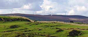 English: Wind turbines north of Cumbria, Engla...