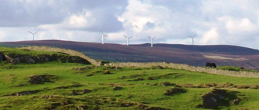 Wind turbines such as these, in Cumbria, England, have been opposed for a number of reasons, including aesthetics, by some sectors of the population. Wind tubines cumbria.JPG