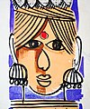 Woman's head with ear rings. Traditional wall painting by villagers, near Katni, M.P., India.jpg