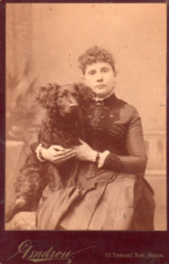 Woman and dog by Gendron of Boston.png