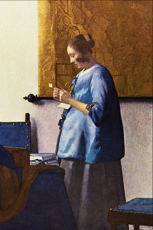 woman in blue reading a letter file in blue jan vermeer delft png wikimedia 25664 | 512px Woman in Blue Jan Vermeer van Delft