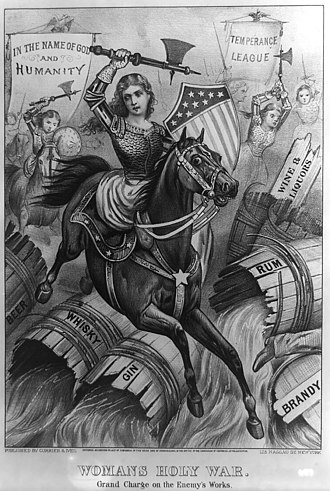 "Abstinence - ""Woman's Holy War. Grand Charge on the Enemy's Works"". An allegorical 1874 political cartoon print, which somewhat unusually shows temperance campaigners (alcohol prohibition advocates) as virtuous armored women warriors (riding sidesaddle), wielding axes Carrie-Nation-style to destroy barrels of Beer, Whisky, Gin, Rum, Brandy, Wine and Liquors, under the banners of ""In the name of God and humanity"" and ""Temperance League"". The foremost woman bears the shield seen in the Seal of the United States (based on the U.S. flag), suggesting the patriotic motivations of temperance campaigners. The shoe and pants-leg of a fleeing male miscreant are seen at lower right."