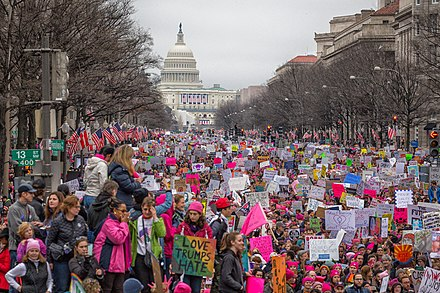 Women's March in Washington on January 21, 2017, a day after the inauguration Women's March on Washington (32593123745).jpg