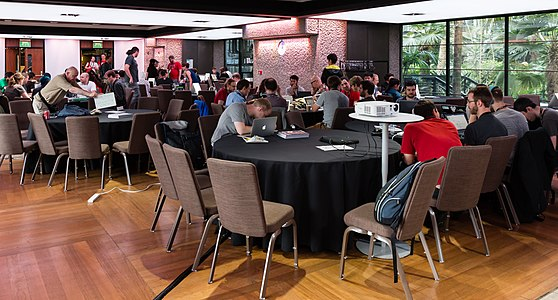 Workgroups during the hackaton, Wikimania 2014-4.jpg