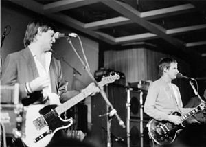 XTC - Gregory (left) and Partridge (right) performing live