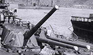 40 cm/45 Type 94 naval gun - A Type 94 Naval Gun being calibrated on ''Yamato'' during construction