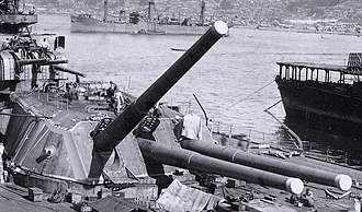 40 cm/45 Type 94 naval gun - A Type 94 Naval Gun being calibrated on Yamato during construction