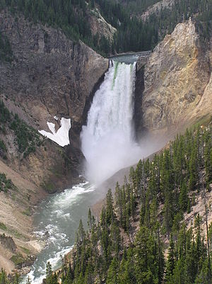 Lower Yellowstone Falls closeup. Yellowstone N...