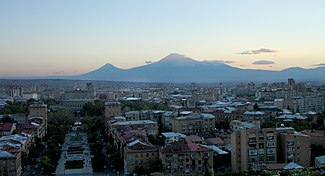 Yerevan skyline with Mount Ararat (Turkey) in background, as seen from the steps of the Cascade complex