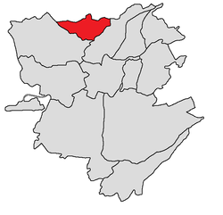 Davtashen district shown in red