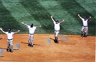 Y.M.C.A. (song) - Members of the grounds crew of Yankee Stadium pause to do the YMCA dance.