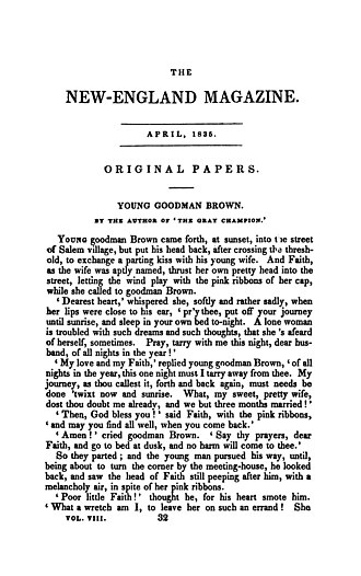 Young Goodman Brown - Image: Young Goodman Brown The New England Magazine April 1835